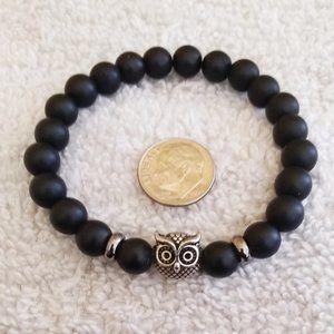 "Goth Boho Black + Antique'd Silver Owl Bracelet 7"""